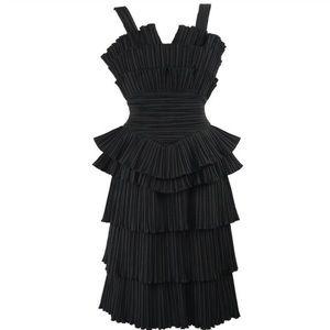 Louis Feraud Black Vintage Pleated Tiered Dress